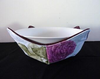 Bowl holder microwave cozy - purple cerise roses I Love Paris
