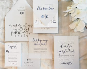 Alicia Wedding Invitation Suite with Vellum Insert + Band -  Dust + Navy Blue with White (customizable)