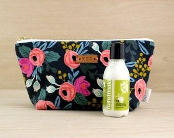 Monogram Makeup Bag, Lotion Gift Bundle, Personalized Zipper Pouch, Rifle Paper Makeup Bag, Floral Zipper Pouch, Toiletry Pouch