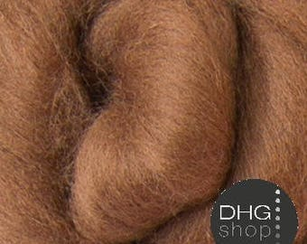 Cocoa, brown, finest merino top, 14.5 micron, 1 oz.