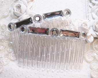 Clear Baguette Rhinestone Handmade Hair comb Fascinator pair