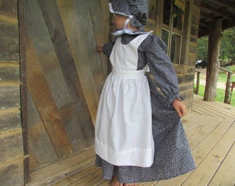 Williamsburg Historical Clothing Boutique Handmade Period Girl Costume -Black Calico Pioneer- Adult Size