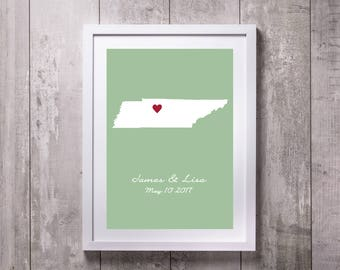 Tennessee Canvas, Valentine Gift, Heart Print, Couples Gift, Tennessee Map, Love Heart Map, Custom Personalized