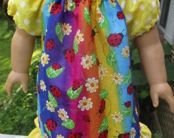 Rainbow Ladybug Doll Dress, peasant dress for 18 inch doll