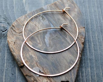 Rose Gold Hoop Earrings - Thin Hoop Earrings - 14K Rose Gold Earrings - Large Hoop Earrings - Big Hoop Earrings