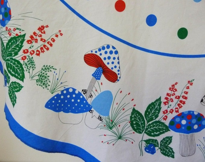 Vintage round tablecloth mushrooms and toadstools