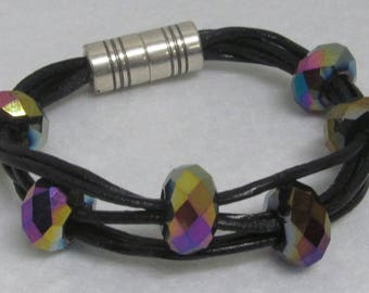 Leather Bracelet ~ Black with Beads ~ Size 6 1/2""