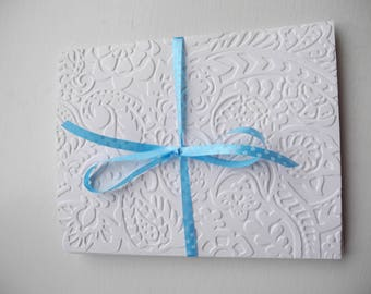 Set of 3 note size white embossed cards blank inside