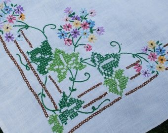 Vintage Tablecloth Flowers and Ivy Cross Stitch on Linen 60 x 76 inches Beautiful