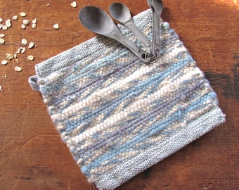 Gourmet Baking Cooking Baker Chef Cook Gift, Blue Kitchen Pot Holder, Rustic French Country Modern Farmhouse Decor Woven Hot Pad Trivet Mat