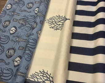 High End Nautical Cotton Blend Upholstery Drapery Fabric Navy Blue Cream Stripe Sea Creatures Fish Lobster Coral Octopus Tropical Beach ST