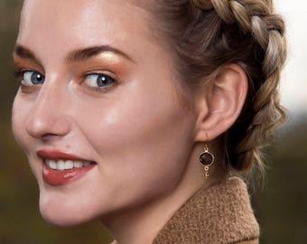 Smoky quartz earrings, gemstone drop earrings, Christmas gift for daughter, wife, sister, girlfriend, smoky quartz drop earrings - Bay