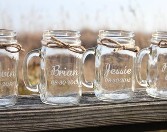 30 Mason Jar Mugs, Wedding Party, Mason Jars, Personalized Engraved mason jar mugs.  Wedding mason jar mugs, Engraved mason jar mugs