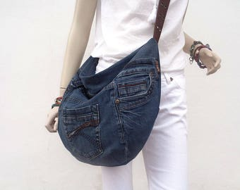 Denim cross body bag slouchy hobo purse recycled upcycled dark denim