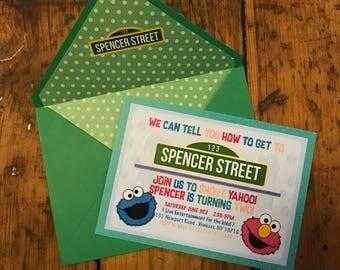 CUSTOM Sesame Street Invitations