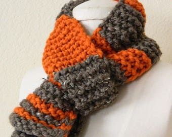 Orange and Taupe Brown Kid's striped hand knit scarf, Ready to ship