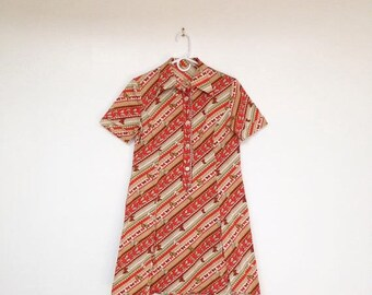 SALE Vintage 1970s Butterfly Print Collared A-Line Mini Dress