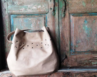 Winter White Leather Hobo, Winter White Leather Hide, Leather Bag