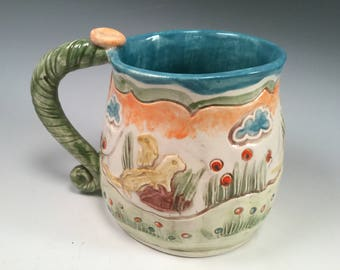 Otter mug/pottery mug/otters/otter art/coffee mug/large coffee mug/ceramic mug/mug