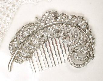 1920s Downton Abbey Bridal Hair Comb, Vintage Rhinestone Leaf Headpiece Art Deco Crystal Silver Feather Accessory Lady Mary Large Head Piece