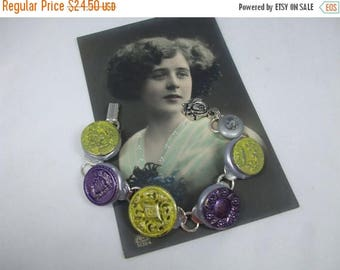 SALE 30% OFF Vintage Beautiful Unique Hand Made Silver Metal  Vintage Button and Bead Bracelet--One of a Kind