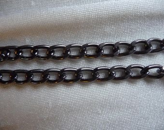Chain, anodized aluminum, gunmetal, 5mm curb. Sold per pack of 5 feet.