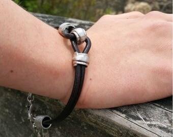 Last One Mens Leather Bracelet Gift for Dad Pewter Surfer Surf