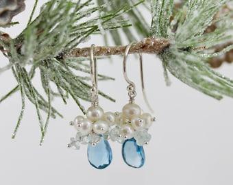 London Blue Topaz Drop Earring, Blue, Blue Topaz Drop Earring, Sterling Silver, Winter Gem Collection, Anastasia, Nordic Blue