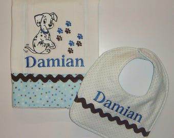 Personalized Burp Cloth and Bib Set - 101 Dalmatians, Puppy, Dogs - Embroidered with Baby's Name