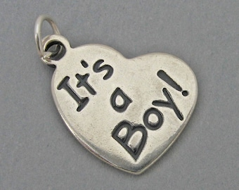 Sterling Silver 925 Charm Pendant IT'S A BOY Heart Baby Charm 3113