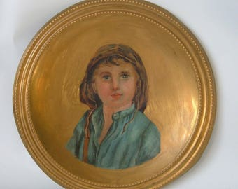 Antique Victorian Portrait Painting On Brass Plate Dish Child In Bonnet Helmet