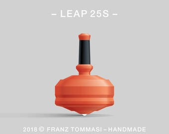 LEAP 25S Orange – Precision handmade polymer spin top with ceramic tip and rubber grip