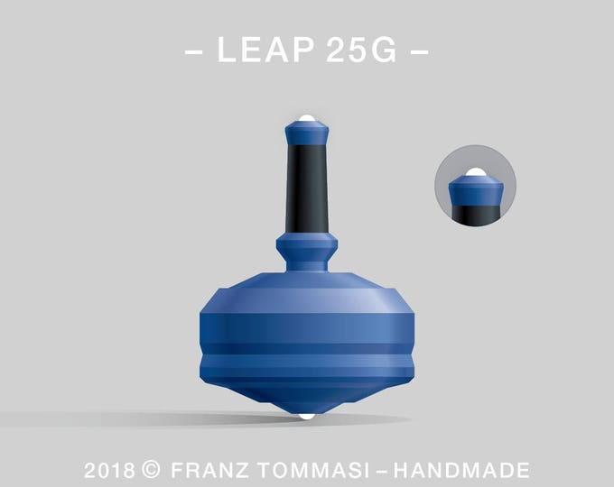 LEAP 25G Blue – Precision handmade polymer spin top with dual ceramic tip and rubber grip