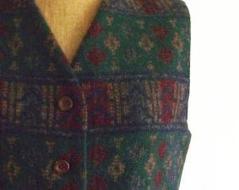 southwestern vest - 80s vest - 90 vest - wool vest - fall vest - back to school - blanket vest