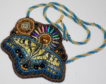 Blue and Yellow Tiger Swallowtail Butterfly Bead Embroidered Necklace