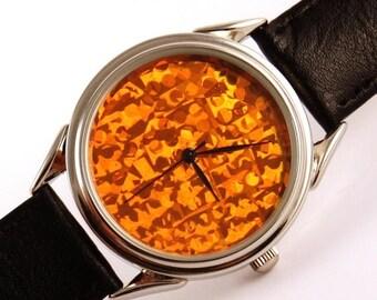 ON SALE 25% OFF Watch orange hologram, quartz watch, mens watches, womens watches ladies watches