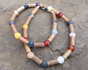 Hazelwood & Rainbow Agate necklace - calming, supports healthy skin, eases acid reflux and indigestion