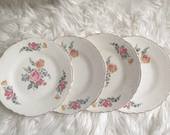 Vintage Scio China Mismatched Dinner Plates Set of 4 Weddings, Replacement China, Bridal Tea Party, Gift Woman