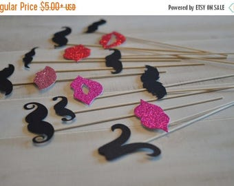 ON SALE Lips and Mustaches Photo Prop on a Stick Photo Booth Prop  DIY Or Assembled