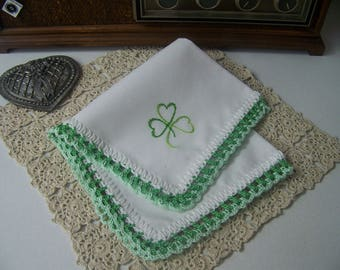 Shamrock Handkerchief, Hanky, Hankie, Irish, Lucky, Hand Crochet, Lace, Ladies, Custom, Embroidered, Personalized, Ready to ship