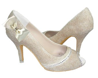 Silver, Champagne or Gold Glitter Peep Toe Heels for the Wedding with Rhinestone & Satin bows, Bride Shoes, Bridal Bling