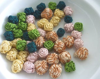 Moroccan art silk  beads/buttons,handmade, flowers rosebud and decorative mixed colours , set of 50