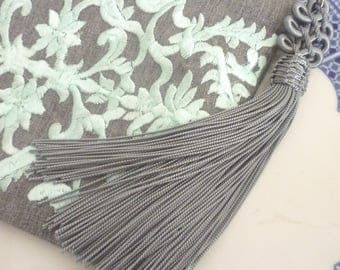Moroccan evening purse,  Moroccan embroidery, gadget case, gray and mint, zipper purse with decorative tassel