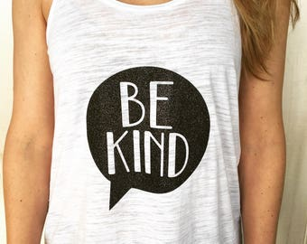 BE KIND Womens Flowy Racer Back Tank - Or Super Mom Tank - Empowerment T Shirt - Teacher gift - Mothers Day - Superkidcapes