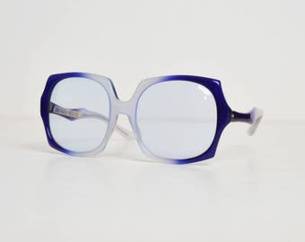 Vintage 60s Oversized Blue Ombre Sunglasses 1960s Shades
