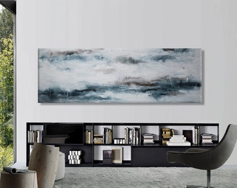 "Original abstract seascape painting Large blue painting 72""  Ocean sea painting Long horizontal art Modern minimalist wall decor"