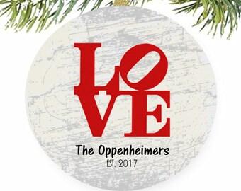 Love Ornament, Philadelphia Love, Love Statue, Robert Indiana, Personalized Ornaments, Engraved Ornament, Wedding Ornament, Love Keepsake
