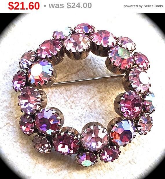Summer Sale Pink aurora borealis rhinestone brooch- Round Brooch-Vintage Pink Rhinestone Brooch - Vintage Accessory- Scarf Pin-Pink Rhine...