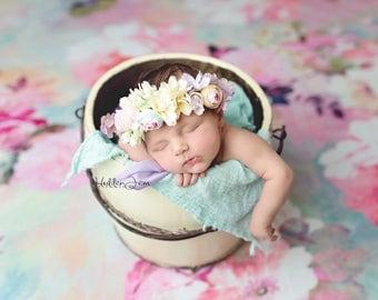 Althea flower crown -- pastel rainbow newborn flower crown halo tieback headband