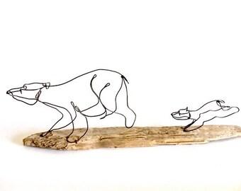 Bear and Cubs Wire Sculpture, Bear Art, Minimal Sculpture, 536130012